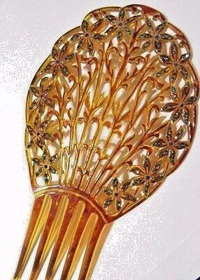 Hair Comb Vintage Celluloid Faux Tortoise Amber Color Rhinestone Colored Flowers