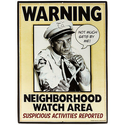 Police Officer Barney Fife Metal Tin Sign Man Cave Garage Neighborhood Watch