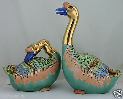 Vintage Or Antique Chinese/japanese Asian Green & Gold Duck Figurine Pair Bird