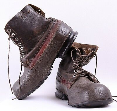 Vintage 1960s Swedish army work boots Brown leather waterproof military rubber