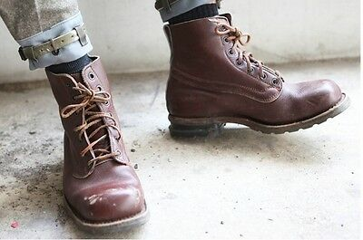 Swedish army brown leather boots shoes military ankle 1960s 1970s combat assault