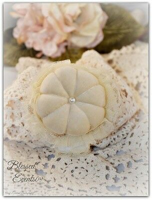 Shabby Victorian Chic Vintage Style Wrist Pin Cushion~ Velvet & Lace~Beige