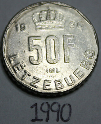 1990 Luxembourgish Fifty Francs 50F Coin, Luxembourg, Europe, nickel, Jean, IML