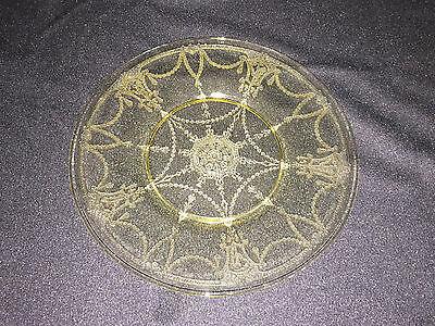 "Depression Glass Yellow 8 1/8"" Federal Hazel Atlas ?? Unknown Pattern"