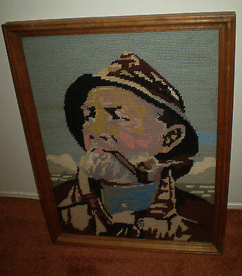 Vintage Professionally Framed Cross Stitch Tapestry ~ Fisherman With Pipe