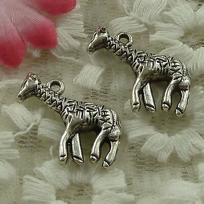 free ship 29 pieces Antique silver giraffe charms 24x18mm #3850