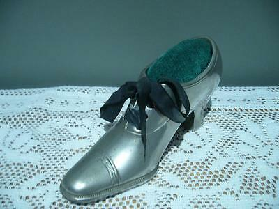 Lovely Large Silver Plated Shoe / Boot Pin Cushion -  Good Condition