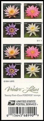 US 4967b Water Lilies forever booklet 20 MNH 2015