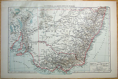 Large Original 1896 Map of Victoria and New South Wales by Velhagen & Klasing