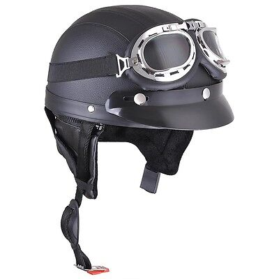 Retro Motorcycle Half Helmet Open Face Scooter Harley Goggles Visor Scarf Black