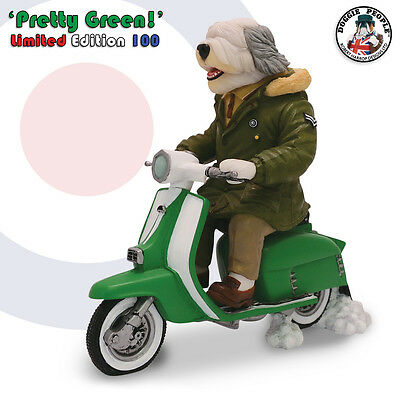Old English Sheepdog - MOD on Scooter (Pretty Green) - Harrop Dog Figure DPWR10