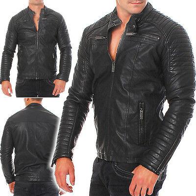 Redbridge Herren Kunst Lederjacke Biker leather jacket M6013
