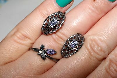 Soviet Set of Earrings Ring Silver 925 USSR Antique AMAZING!