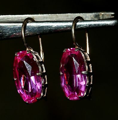 GORGEOUS BIG AMAZING PINK Tourmaline Vintage EARRINGS Silver 875 USSR Antique