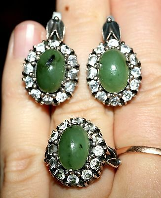 GORGEOUS Chrysoprase Vintage EARRINGS RING Silver 925 USSR Soviet English lock!