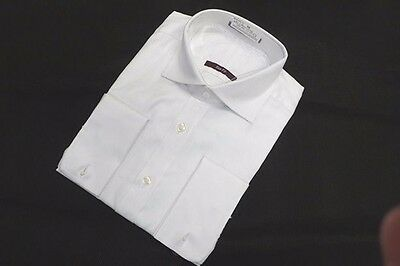 Men's M&S White Herringbone Shirt 100% Cotton, Double Cuff 14.5 15 16