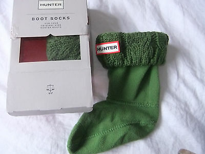 KIDS ORIGINAL HUNTER WELLY BOOT SOCKS Size S UK 7-9 CABLE KNIT CUFF PEA GREEN BN