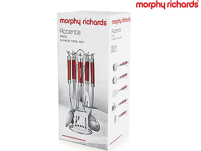 Morphy Richards 46821 Accents 5 Piece Kitchen Utensil Tool Set in Red Genuine
