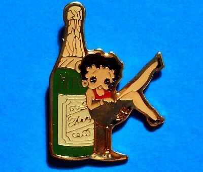 BETTY BOOP - CHAMPAGNE BOTTLE - SITTING IN GLASS - VINTAGE LAPEL PIN - (smaller)
