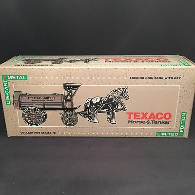 NEW ERTL Texaco Horse And Tanker Ltd Edition #8 1991 Die Cast Locking Coin Bank