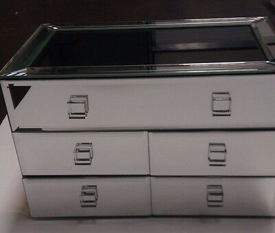 Bevelled Five Drawer Five Compartment Jewellery Box - Mirrored
