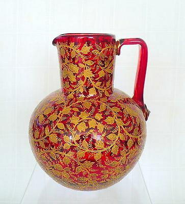 Antique Moser Bohemian Czech Art Glass Pitcher