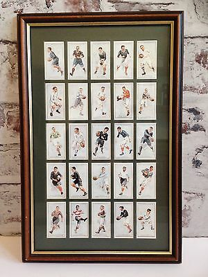 Framed Reproduction Cigarette Cards Prominent Rugby Players F & J Smith Full Set