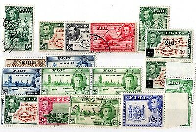 Fiji KGVI Collection of 17 Values Mint/VFU X5266