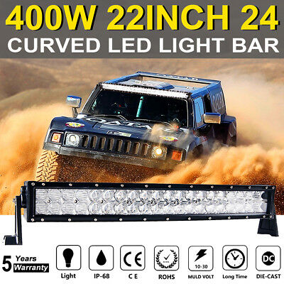 5D 400W 22INCH 24INCH Curved LED Light Bar Combo Spot Flood SUV 4WD CAR TRUCK