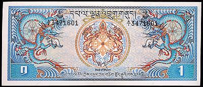 "BHUTAN 1981 Original Larger ""Blue Dragons"" 1 Ngultrum UNC Stunning Banknote! P-5"