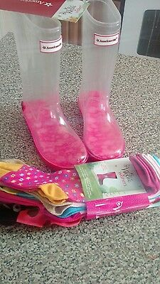 American Girl Wellie Wisher Rain Snow Boots and Socks