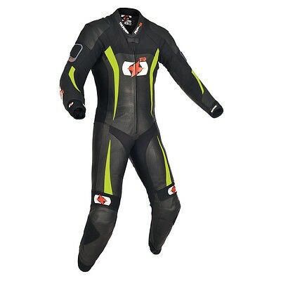 Oxford RP 3 RP-3 1 One Piece Leather Motorcycle Race Suit Black / Fluorescent