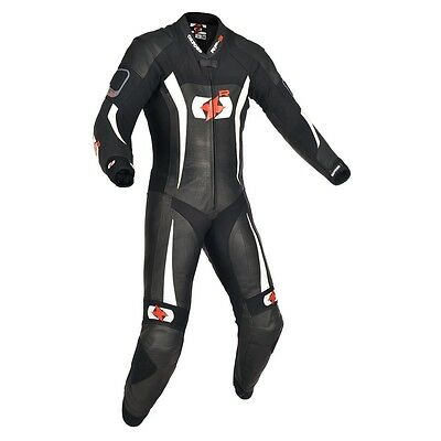 Oxford RP 3 RP-3 1 One Piece Leather Motorcycle Race Suit Black / White NEW