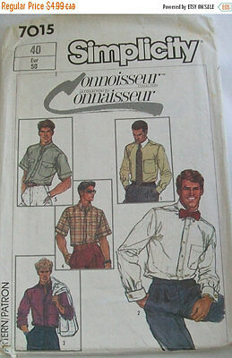 Simplicity men's long or short sleeved shirt pattern uncut size 40