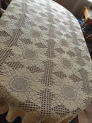 "Beautiful Vintage Hand Crocheted Tablecloth Large Flower Rectangle 94"" X 94"""