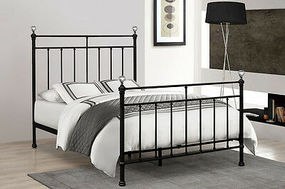 3Ft And 4Ft6 Reiggie Black Metal Bed Frame With Crystal Finials Back In Stock