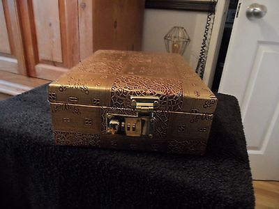 wooden jewellery box with a gold covering -- 12 x 9 x 4 inches