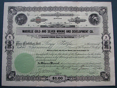 #375 - scarce! 1925 MAXVILLE, MONTANA / GOLD & SILVER MINING stock certificate