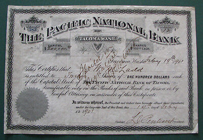 #388 - old 1901 THE PACIFIC NATIONAL BANK / TACOMA WASH WA stock certificate