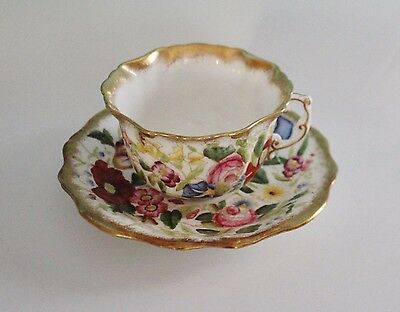 Hammersley China Queen Ann Teacup and Saucer England Flowers Gold Scalloped