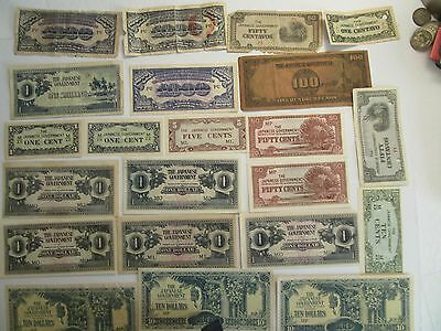 Lot of 22 Japan Banknotes, mixed dates & denominations, Japanese Occupation