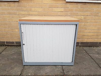 Bisley System File Tambour Cupboard / Cabinet / Storage - Grey/ White- Wooden To