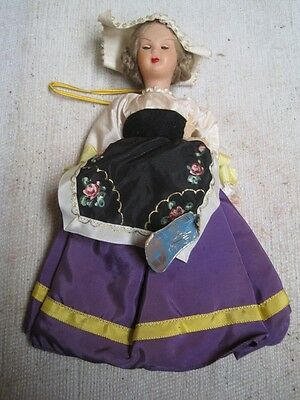 Antique Old  Magda Milano  Italiy  Doll Toy Celluloid -Close  Eyes- Purple Dress