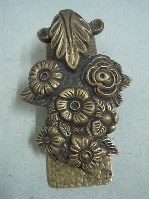 Antique Wall Or  Desktop Clip For Documents, Paper In Bronze With Flowers