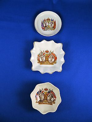 Lot of Three Vintage 1937 Coronation Commemorative Pottery Pieces, George VI