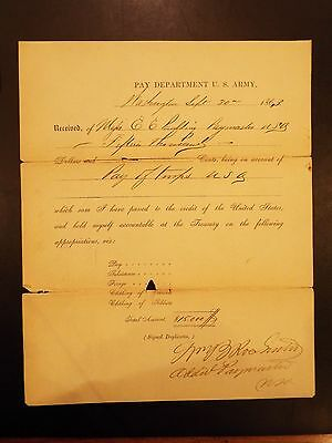 U.S. Army Pay Department Check for Service in Civil War 1863