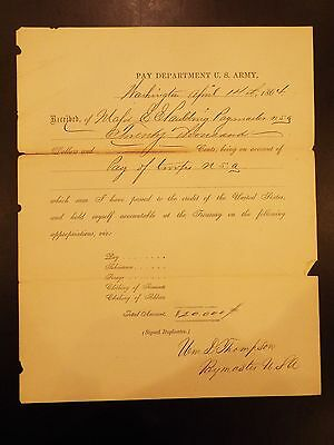 U.S. Army Pay Department Check for Services in Civil War 1864