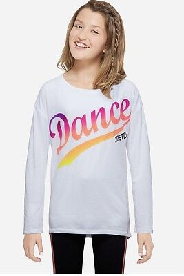 NWT JUSTICE Girls 8 14 White Long Sleeve Embellished DANCE Tee
