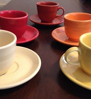 Fiestaware lot of 5 tea cups and saucers