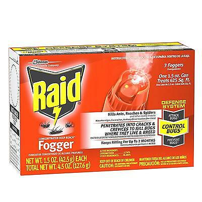 NEW Raid Concentrated Deep Reach Fogger Kills Ants Roaches Spiders 2-months Pack